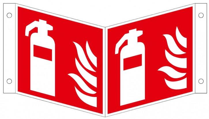 Winkelschild Nachleuchtend Kunststoff-Platte, 150 x 150 mm, Winkelschild/ Nasenschild mit Feuerlöscher- Symbol- Schild ISO 7010 F001, EXTRA-N 10/70 60/7 - 600 DIN 67510