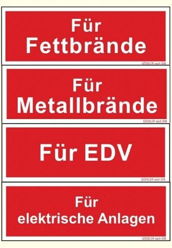 Hier klicken Zusatzschilder für Feuerlöscher Symbol Schild F05 150 u. 200 mm