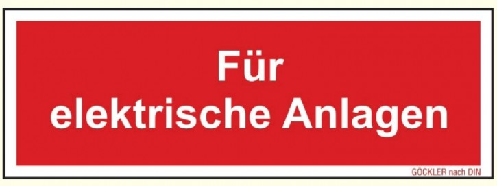 Kunststoff-Platte Nachleuchtend, 150 x 52 mm, Für elektrische Anlagen Zusatzschild zu Feuerlöscher Symbol Schild F05