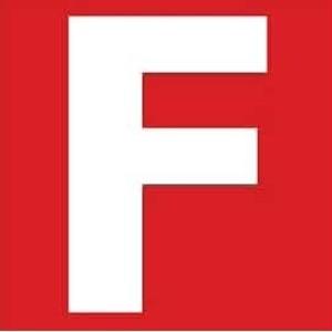 Zusatzschild F- Feuerwehr+Selbsthilfe- zum Aufkleben Gr.: 40 x 40 mm
