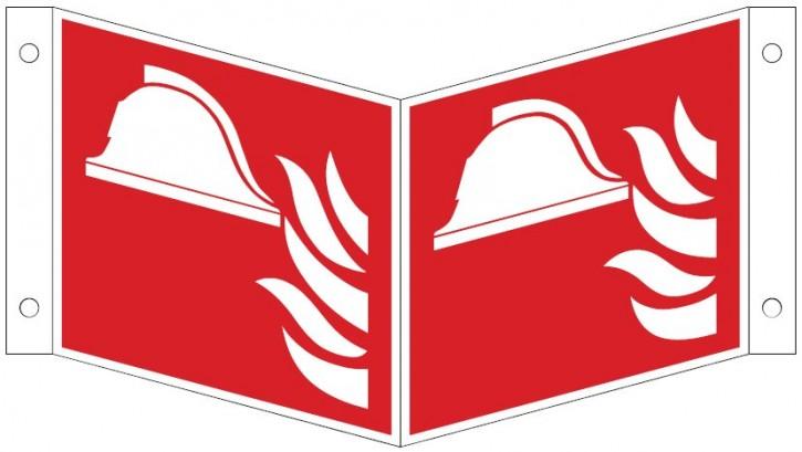 Winkelschild/ Nasenschild mit Mittel und Gerät zur Brandbekämpfung- Schild ISO 7010 F004 Gr.:   150 x 150 mm Kunststoffplatte rot/weiß nach ISO