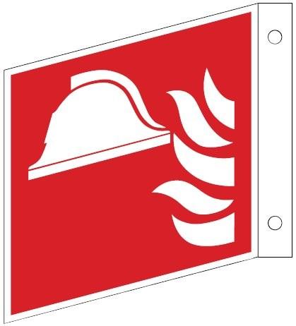 Fahnenschild mit Mittel und Gerät zur Brandbekämpfung- Schild ISO 7010 F004 Gr.:   200 x 200 mm Kunststoffplatte langnachleuchtend rot nach ISO