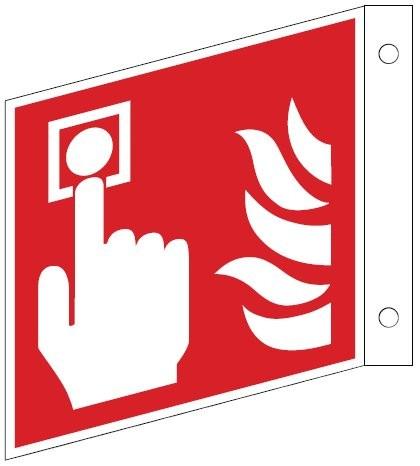 Fahnenschild mit Brandmelder (manuel) - Schild ISO 7010 F005Gr.:   150 x 150 mm Kunststoffplatte langnachleuchtend rot nach ISO