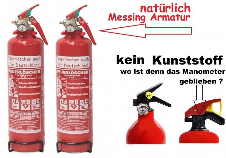 2 x Feuerlöscher Pulver 1 kg ABC Auto EN 3 KFZ Halter, mit oder ohne Instandhaltungsnachweis erhältlich!
