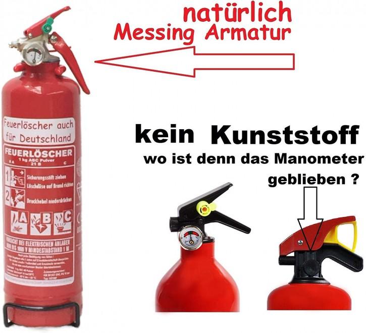 1 kg Komfort Feuerlöscher Pulver ABC Auto EN 3 KFZ Halter, mit oder ohne Instandhaltungsnachweis erhältlich!
