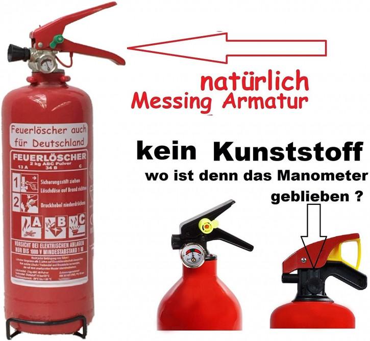 Feuerlöscher 2kg ABC Auto Pulver EN 3, mit oder ohne Instandhaltungsnachweis erhältlich! Boot Camping KFZ Halter extra großem Griff