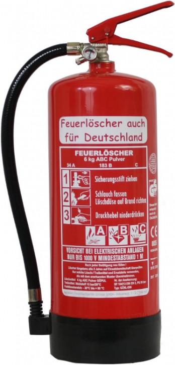Feuerlöscher 6kg 34A DIN EN3 GS , ABC Pulver + Standfuß + Wandhalter + Manometer, mit oder ohne Instandhaltungsnachweis erhältlich!
