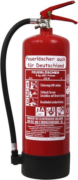 Feuerlöscher 6kg 43A DIN EN3 GS Pulver mit oder ohne Prüfnachweis u. Jahresmarke, mit Manometer, Kunststoffstandfuß , Wandhalter 43 A, 233 B, C = 12 LE, Messingarmatur Sicherheitsventil