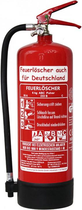 Feuerlöscher 6kg 55 A DIN EN 3 GS ABC Pulver mit oder ohne Prüfnachweis u. Jahresmarke, 55 A, 233 B, C = 15 LE, Manometer, Kunststoffstandfuß , Wandhalter , Messingarmatur Sicherheitsventil