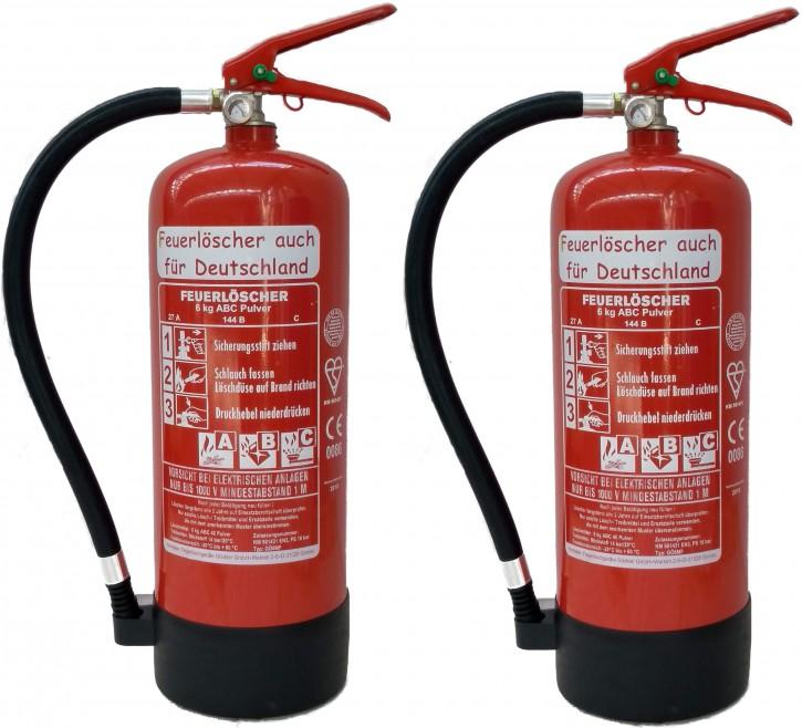 2 X 6kg ABC Pulver Feuerlöscher EN 3 , 27 A, 144 B, C = 9 LE + Wandhalter + Standfuß NEU Originalverpackt, mit oder ohne Instandhaltungsnachweis erhältlich!