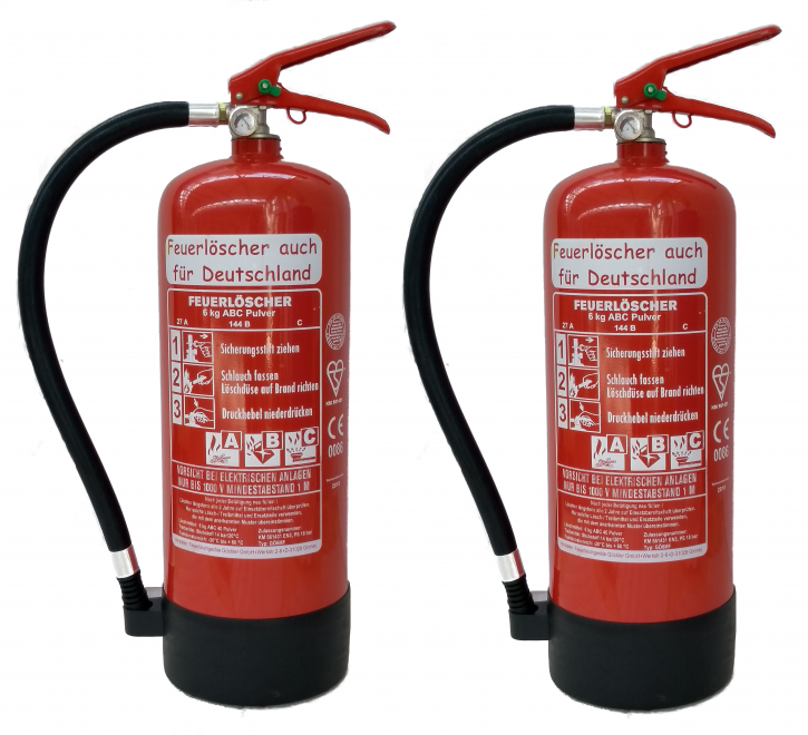 Doppelpack ! 2 X 6kg ABC Pulver Feuerlöscher EN 3 , 27 A, 144 B, C = 9 LE + Wandhalter + Standfuß NEU Originalverpackt