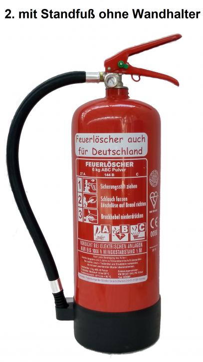 Feuerlöscher 6kg ABC Pulverlöscher mit Manometer EN 3 , Messingarmatur Sicherheitsventil , MIT Kunststoffstandfuß , OHNE Wandhalter, mit oder ohne Instandhaltungsnachweis erhältlich!