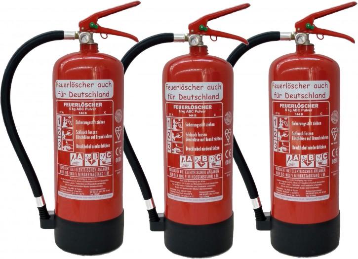3 X 6kg Pulver Feuerlöscher ABC EN 3, 9 LE, 27 A, 144 B, mit oder ohne Instandhaltungsnachweis erhältlich!