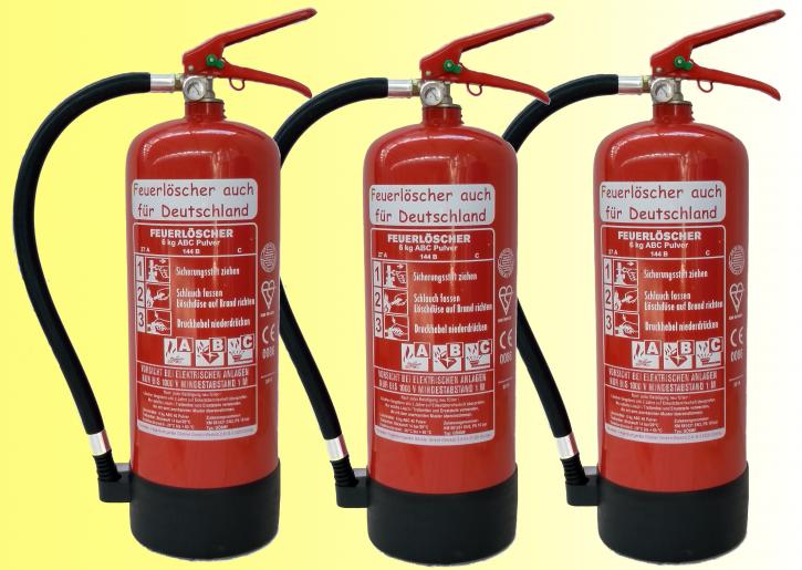 3´er Pack 6kg ABC Pulver Feuerlöscher auch für Deutschland EN 3; 9 LE, 27 A, 144 B,