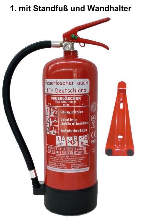 Feuerlöscher 6kg ABC Pulverlöscher mit Manometer EN 3 , Messingarmatur Sicherheitsventil , MIT Kunststoffstandfuß , MIT Wandhalter, mit oder ohne Instandhaltungsnachweis erhältlich!
