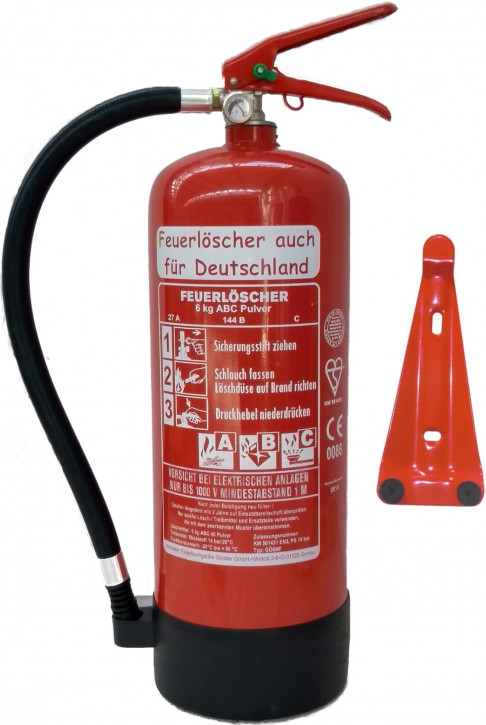 Feuerlöscher 6kg ABC EN 3 Pulver mit oder ohne Prüfnachweis u. Jahresmarke, mit Manometer, Kunststoffstandfuß , Wandhalter 27 A, 144 B, C = 9 LE, Messingarmatur Sicherheitsventil