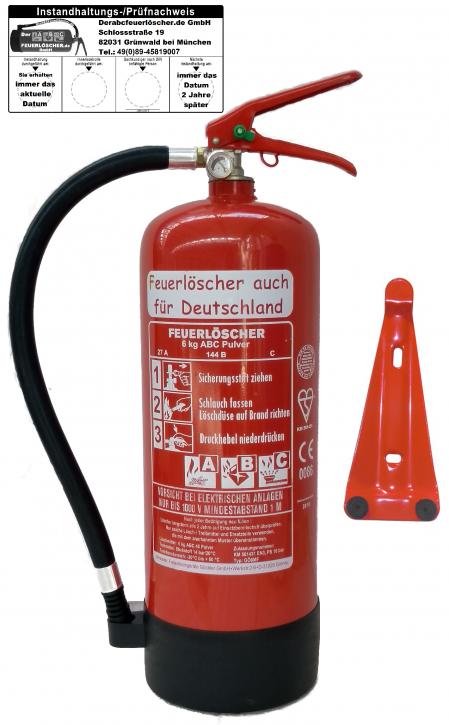 Feuerlöscher 6kg ABC EN 3 Pulver 9 LE mit oder ohne Prüfnachweis u. Jahresmarke, mit Manometer, Kunststoffstandfuß , Wandhalter , Messingarmatur Sicherheitsventil