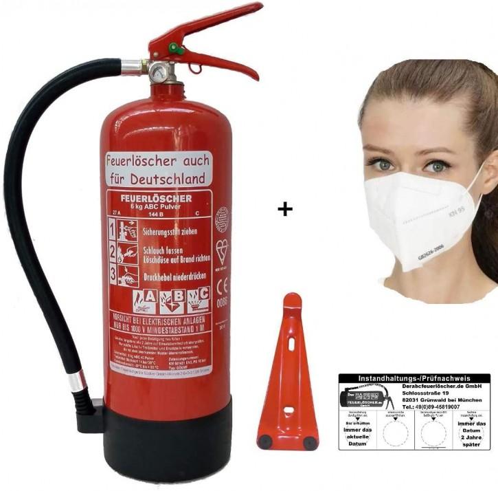 Feuerlöscher 6kg ABC Pulverlöscher mit Manometer EN 3 , + 1 x Maske, Messingarmatur Sicherheitsventil , MIT Kunststoffstandfuß , MIT Wandhalter, mit oder ohne Instandhaltungsnachweis erhältlich!