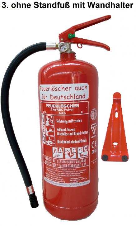 Feuerlöscher 6kg ABC Pulverlöscher mit Manometer EN 3 , Messingarmatur Sicherheitsventil  OHNE Kunststoffstandfuß  MIT Wandhalter, mit oder ohne Instandhaltungsnachweis erhältlich!