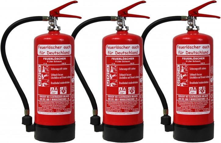 3´er Pack 6 L Schaum Feuerlöscher DIN EN 3, GS , Rating = 6 LE, 21 A, 144 B, mit oder ohne Instandhaltungsnachweis erhältlich!