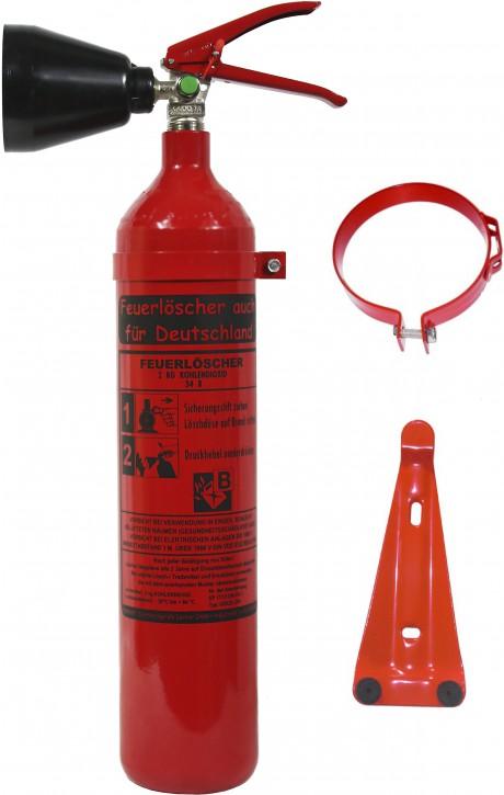 Feuerlöscher 2kg CO2 DIN EN 3 GS Kohlendioxid, mit oder ohne Prüfnachweis erhältlich, für EDV Küche Haushalt Gastro Hotel + Wandhalter NEU OVP