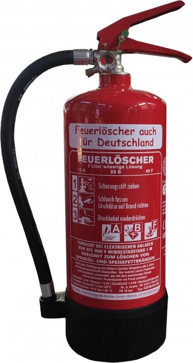 3 L Fettbrand Feuerlöscher DIN EN 3,  GS ,  Rating: 13 A, 89 B, 40F = 4 LE mit oder ohne Instandhaltungsnachweis erhältlich Hotel Haushalt Küche Gastro