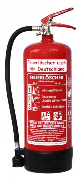 2´er Pack 6 L Schaum Feuerlöscher auch für Deutschland Dauerdruck- Feuerlöscher DIN EN 3, GS, Rating: 21A , 183 B = 6 LE außenliegendes Prüfventil, mit oder ohne Instandhaltungsnachweis erhältlich!