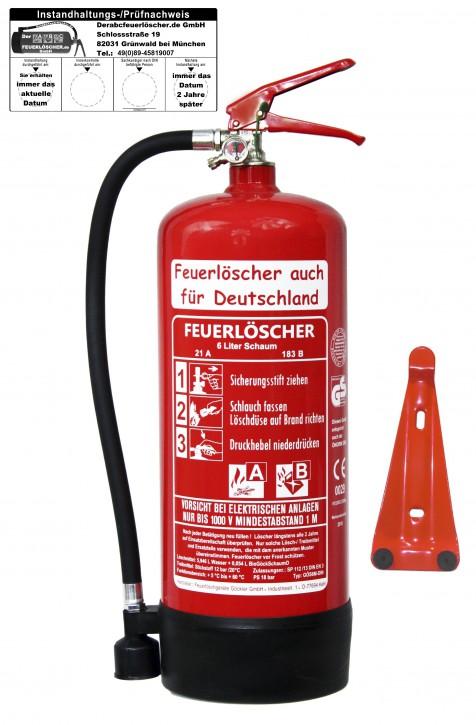 6L Schaum AB Feuerlöscher DIN EN3 GS, 6 LE mit oder ohne Prüfnachweis mit Jahresmarken erhältlich, + Wandhalter Manometer OVP NEU Haushalt Gewerbe Handwerk