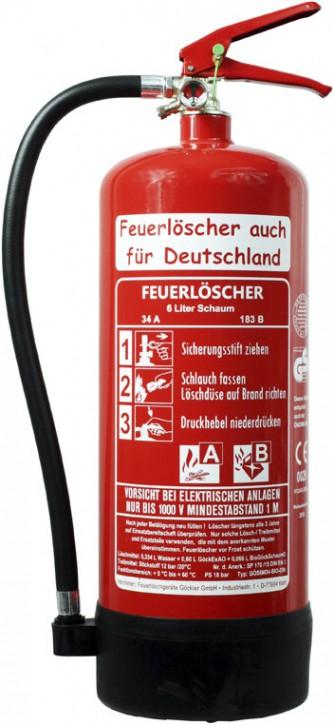 6L BIOSchaum Feuerlöscher DIN EN 3 GS Haus Hof Wandhalter Manometer 34 A, 183 B = 10 LE mit oder ohne Instandhaltungsnachweis erhältlich!