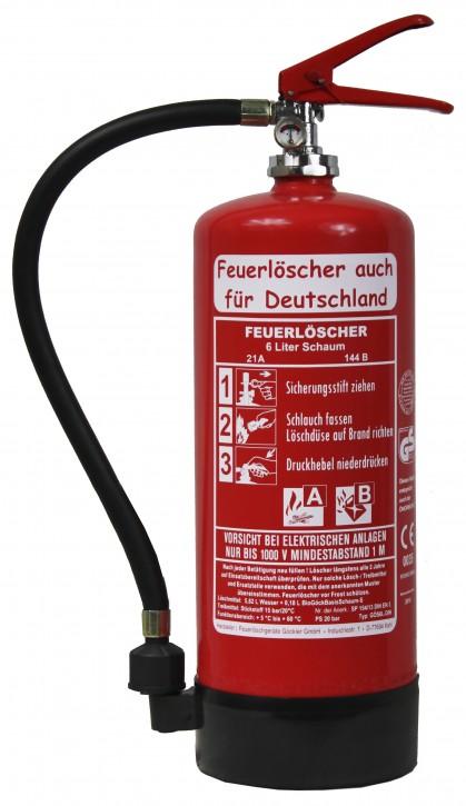 NEU 6 L Schaum Feuerlöscher DIN EN3 GS + Wandhalter + Manometer