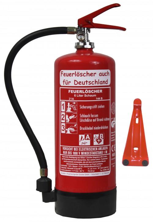 Feuerlöscher 6L Schaum DIN EN3 GS 6LE mit oder ohne Instandhaltungsnachweis erhältlich! + Wandhalter + Manometer