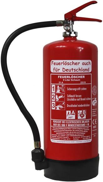9 L Feuerlöscher auch für Deutschland Schaum AB DIN EN 3 GS Gewerbe Handwerk + Wandhalter, mit oder ohne Instandhaltungsnachweis erhältlich!