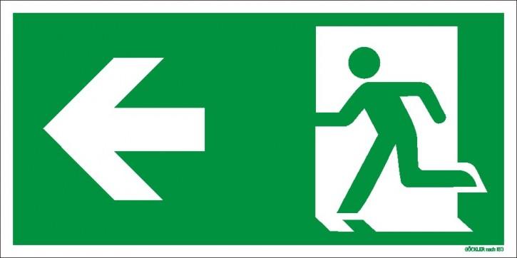 Rettungsweg links Symbol-Schild,Gr.: 300 x 150 mm,langnachleuchtende Folie selbstklebend grün,Symbol nach ISO 7010,EXTRA-N 10/70 60/7 - 600 DIN 67510
