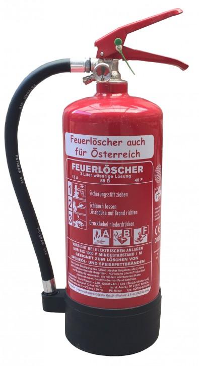 3 L Fettbrand Dauerdruck-Feuerlöscher  DIN EN 3 , GS ,  Rating: 13 A, 89 B, 40F = 4 LE mit oder ohne Instandhaltungsnachweis erhältlich Hotel Haushalt Küche Gastro