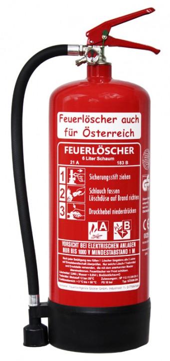 6L Feuerlöscher auch für Österreich Schaum AB DIN EN 3 GS Haus Hof Hotel Wandhalter Manometer, mit oder ohne Instandhaltungsnachweis erhältlich!