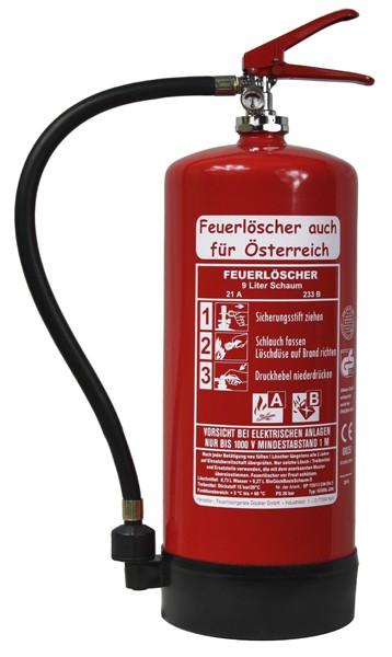 Doppelpack! 2x 9LSchaum #Feuerlöscher auch für Österreich# Dauerdruck-Feuerlöscher DIN EN 3 SP 155/13 , GS, Rating: 06 LE, 21 A, 233