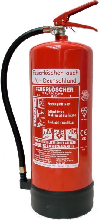 Feuerlöscher 12 kg ABC EN 3 Pulver Standfuß Manometer Wandhalter Sicherheit Gewerbe, mit oder ohne Instandhaltungsnachweis erhältlich!