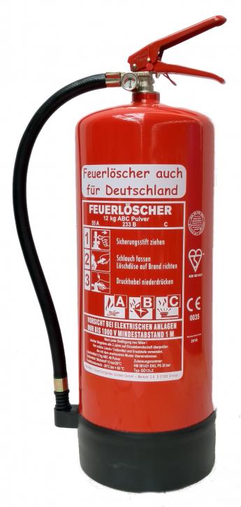 12 kg Feuerlöscher Pulver ABC EN 3 Standfuß Manometer Wandhalter Sicherheit Gewerbe