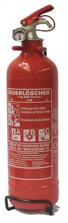 1 kg Kompakt Feuerlöscher Pulver ABC Auto Camping EN 3 KFZHalter, mit oder ohne Instandhaltungsnachweis erhältlich!