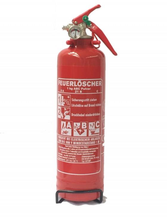 1 kg Komfort Feuerlöscher Pulver ABC Auto EN 3 KFZ Halter