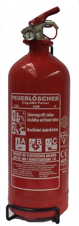 SixxPack 2 kg ABC- Pulver- Dauerdruck- Feuerlöscher EN 3 , Rating: 04 LE, 13 A, 55 B