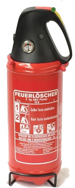 2 kg Feuerlöscher Pulver ABC DIN EN 3 Auto Boot Freizeit Camper KFZ Halter