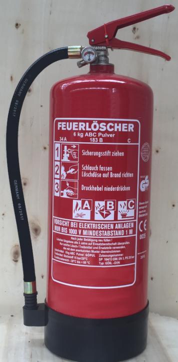 6 kg ABC- Pulver- Dauerdruck- Feuerlöscher DIN EN 3, SP 104/ 13, GS, außenliegendes Prüfventil Rating: 34 A, 183 B, C = 10 LE, mit oder ohne Instandhaltungsnachweis erhältlich!