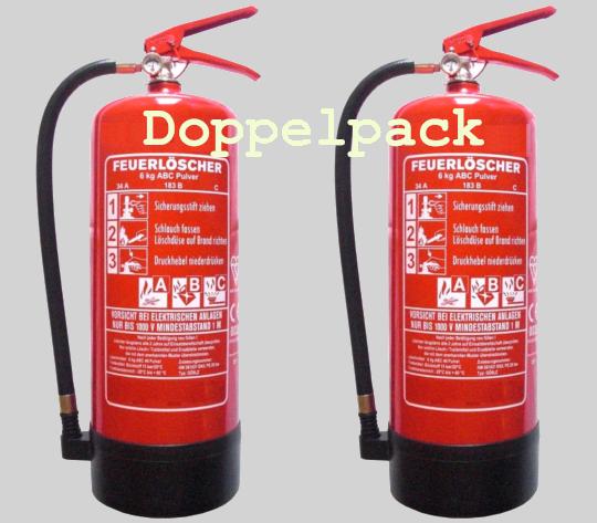 Doppelpack 6 kg ABC- Pulver- Dauerdruck- Feuerlöscher EN 3 , Rating: 10 LE, 34 A, 183 B, C