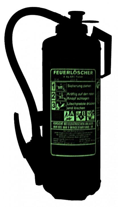 NEU  6 kg ABC- Pulver- Auflade- Feuerlöscher DIN EN 3 , GS , Rating: 55 A, 233 B, C = 15 LE , Mit nachleuchtender Beschriftung.