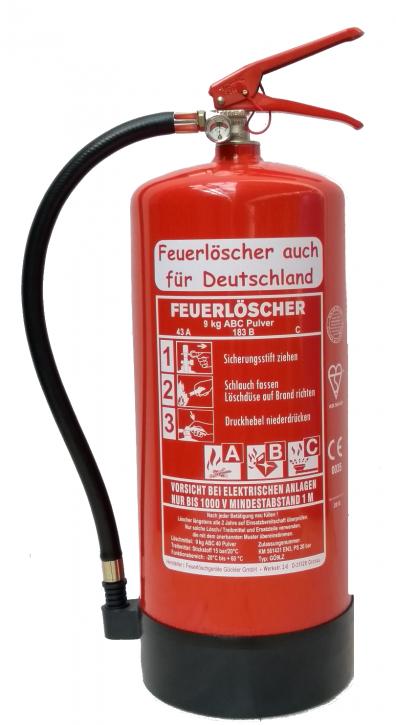 9 kg ABC Pulver Feuerlöscher auch für Deutschland EN 3 + Standfuß + Wandhalter + Manometer 12 LE
