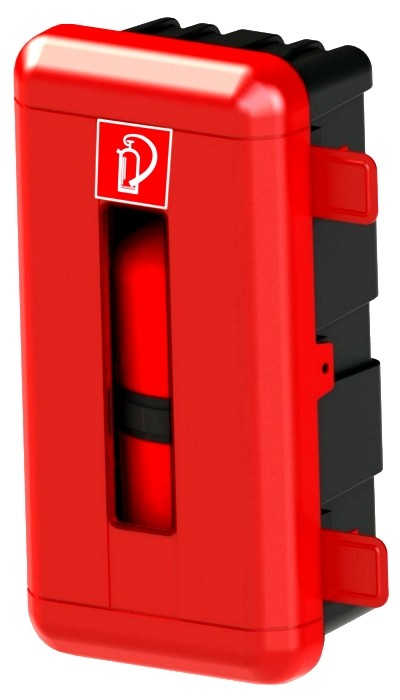 Schutzbox rot  für 6 kg Feuerlöscher Kasten Lkw Montage Box Schutzkasten Truck Feuerlöscherschrank