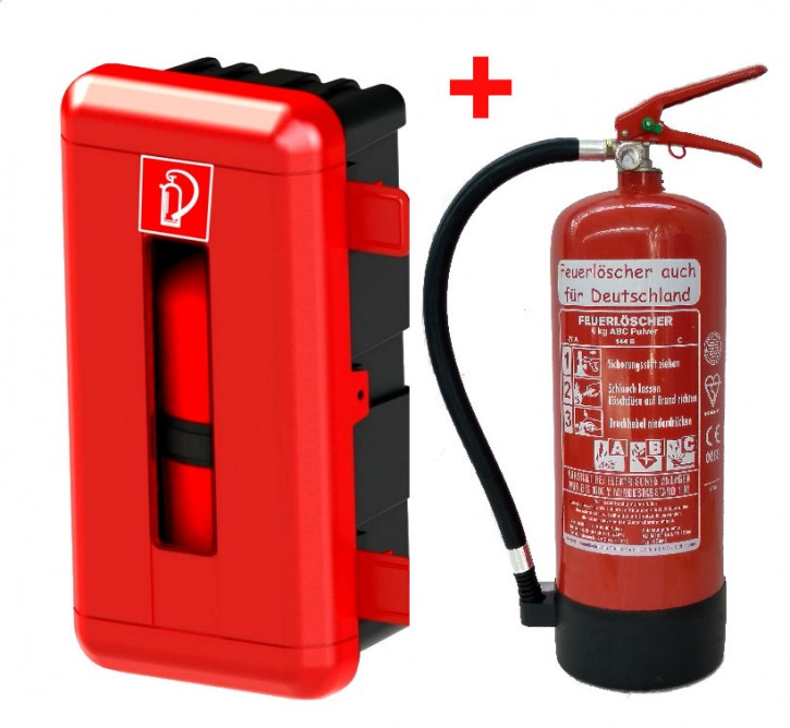 ABC Pulver Feuerlöscher 6kg mit Schutzbox aus Kunststoff abschließbar mit oder ohne Prüfnachweis u. Jahresmarke GIMBOX