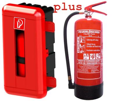 Schutzbox rot  + 6 kg ABC-Pulver-Dauerdruck Feuerlöscher