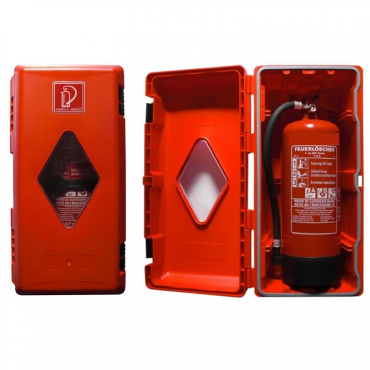6 kg Feuerlöscherbox Kunststoff rot mit Fenster
